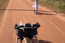 Biking the red dirt road to the beach!