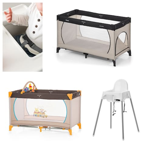 Our portable cribs and a high chair for babies