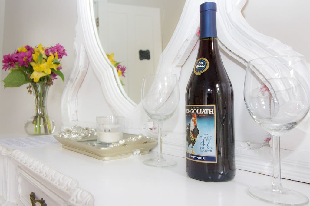 Enjoy a complimentary bottle of wine.
