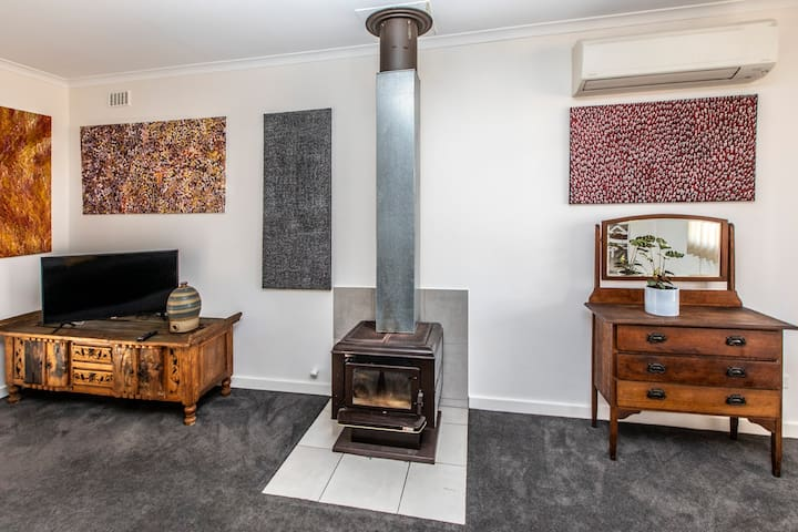 combustion fire place, split system air-con