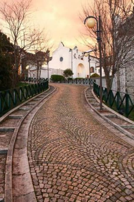 the road to my street and view of the Madonna Church