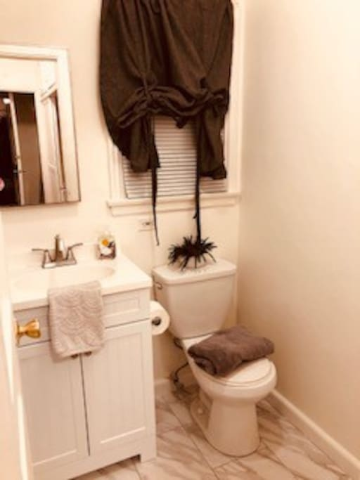 New vanity, new flooring and freshly painted bathroom.  Tub/shower with great water pressure.