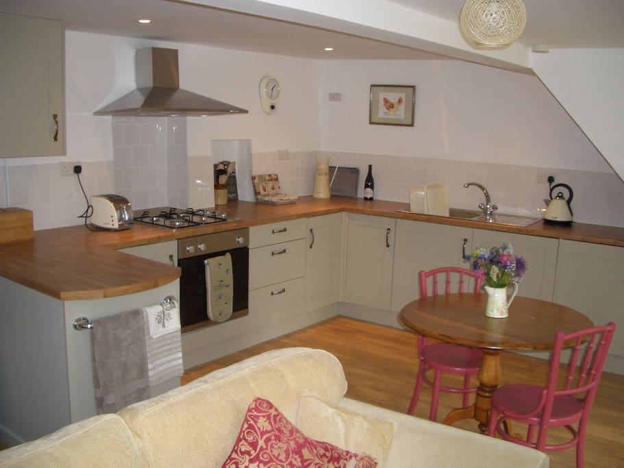 Fitted kitchen area of living room