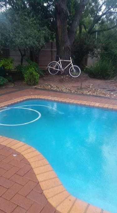 Pool area right in front of the guestroom. Use at own risk. Small portable braai available for guest on patio.