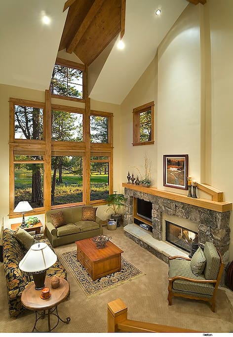 Great room with gas fireplace, views, updated A/V.