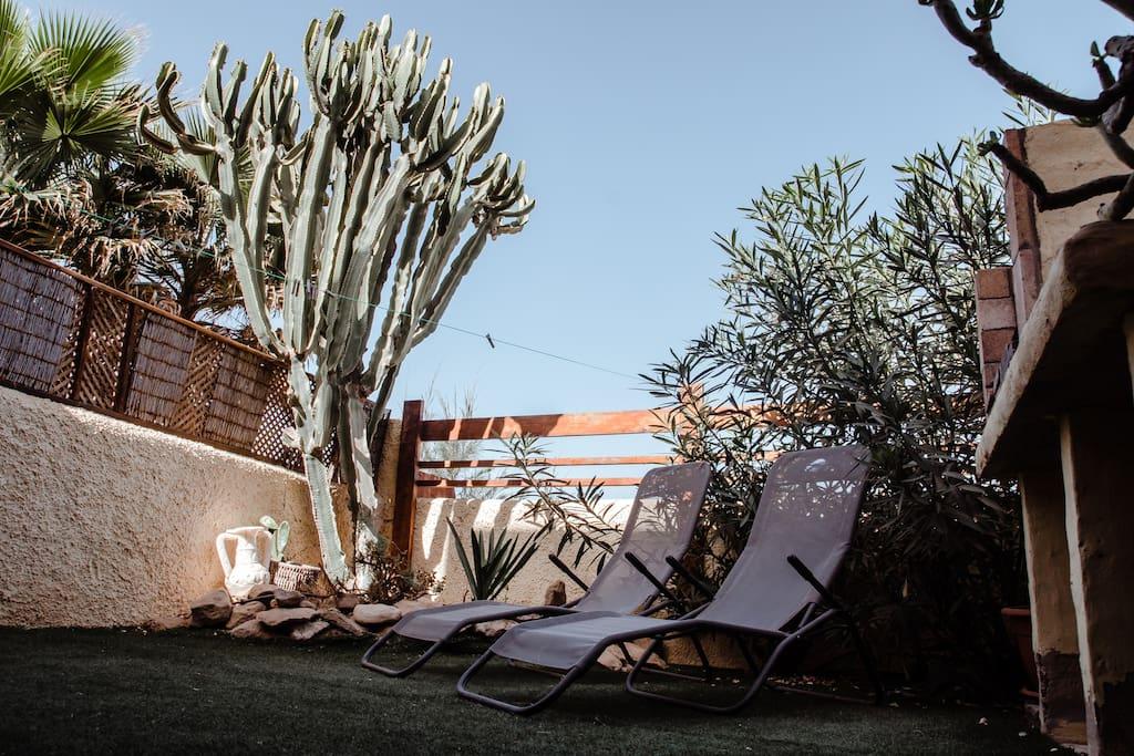 Jardín y Hamacas
