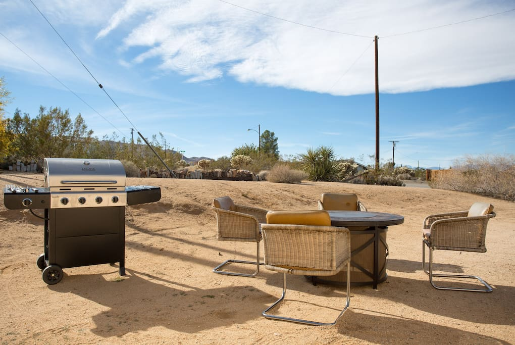 Propane fire pit and BBQ