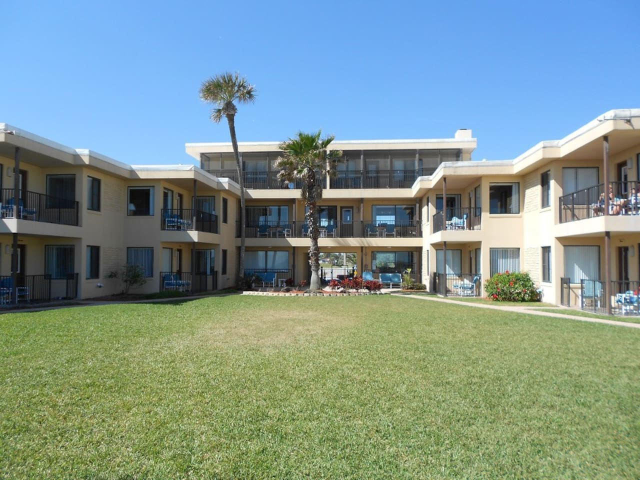 Penthouse unit, screened outdoor space with view directly onto beach.