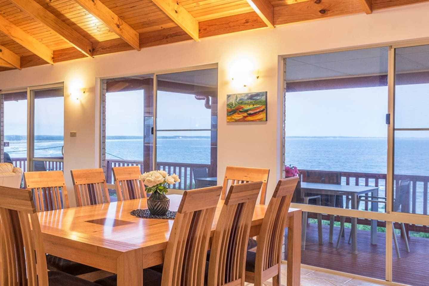 180-degree ocean views from the upstairs living area and deck.