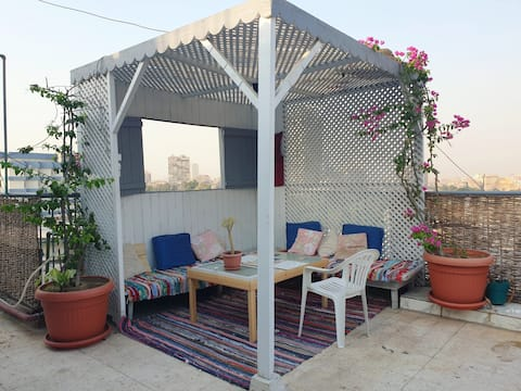 Roof top 🌿🌳 with a panoramic view on Cairo 🌟