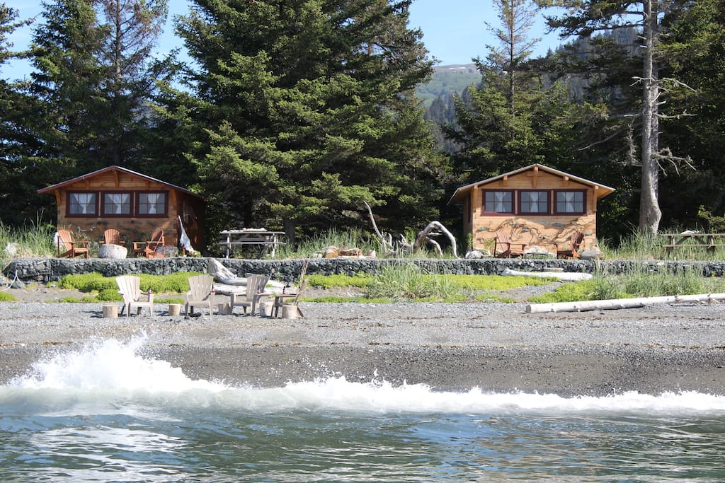 The Cannery Cabin and Fisherman's Cabin are nestled in the trees, yet still spaciously set apart offering guests both privacy and also convenient for group travelers. Here you can fall asleep to the sounds of the surf!