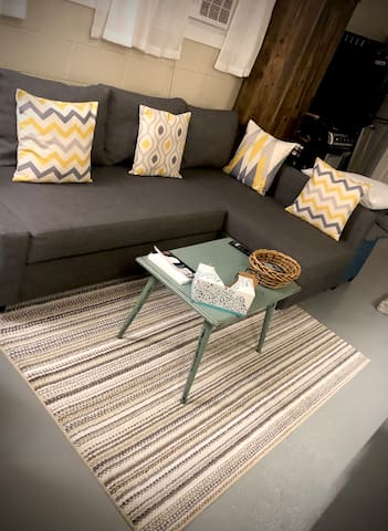 Living Space: Queen Pullout Couch