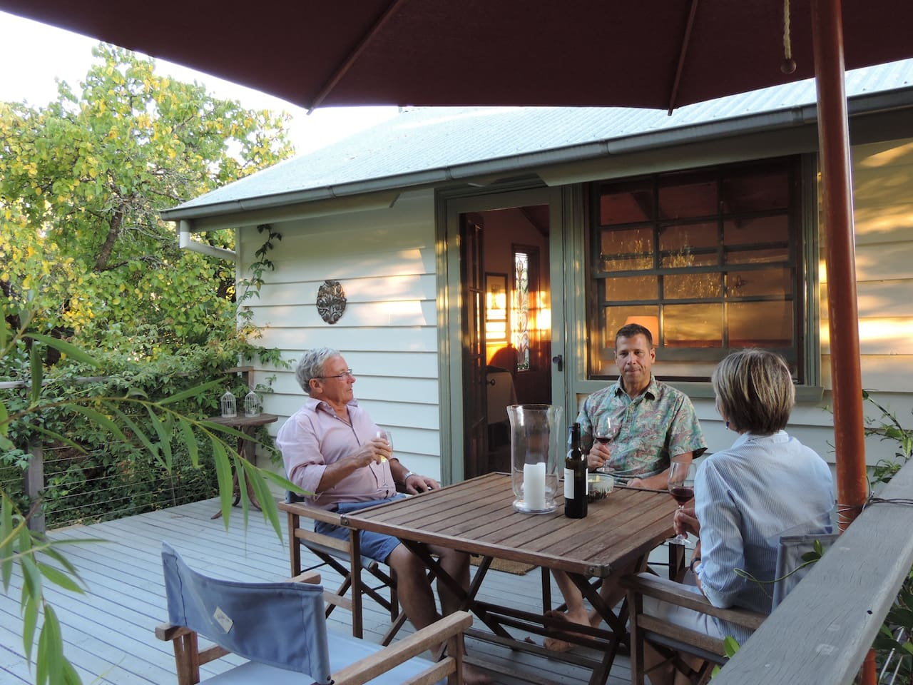 The private upstairs deck opens from the bedroom area and overlooks our cool-climate, Open Garden Scheme-featured garden. A private gas barbecue is available for your use.