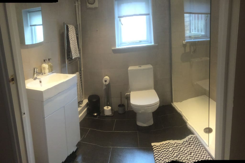Newly installed Bathroom with a powerful shower