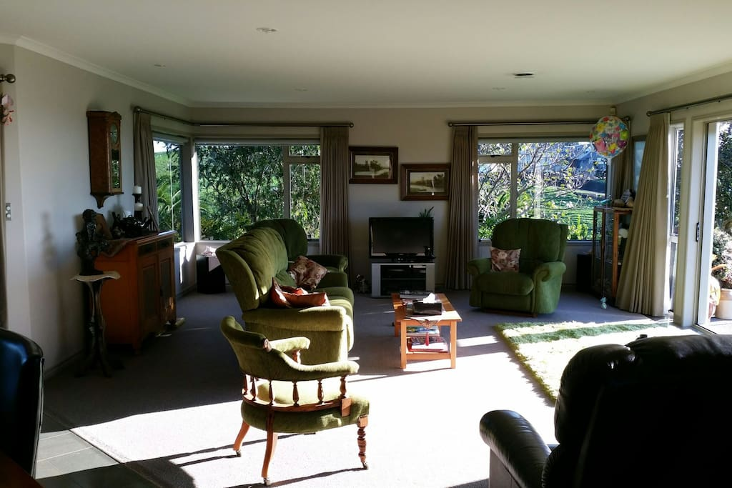 Early morning to late afternoon sun. Our home is warm and comfortable.