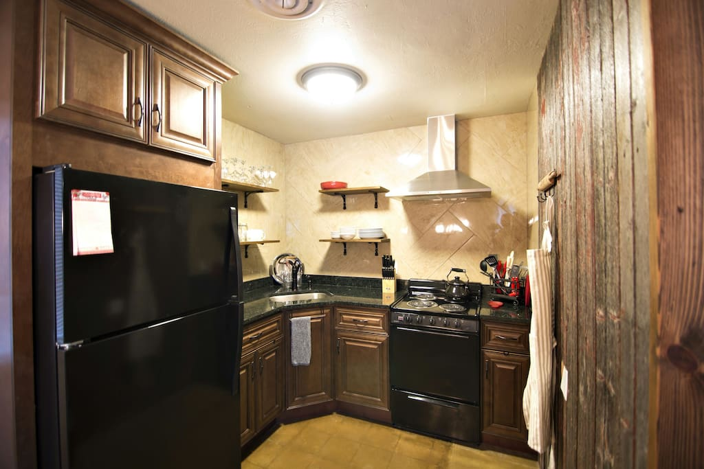 compact but completely outfitted kitchen