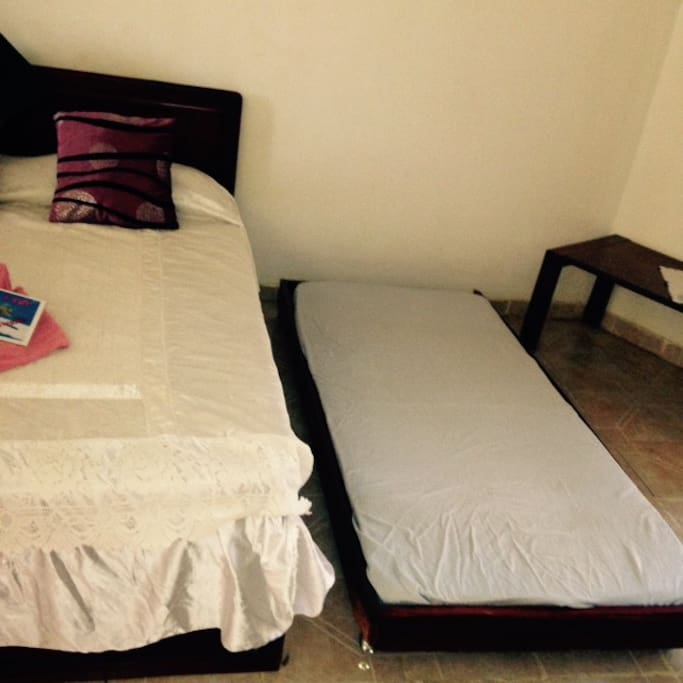 Single mattress available under the double bed
