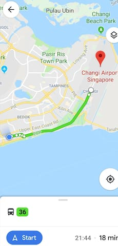 18 minutes to Changi Airport, Jewel...via bus 36