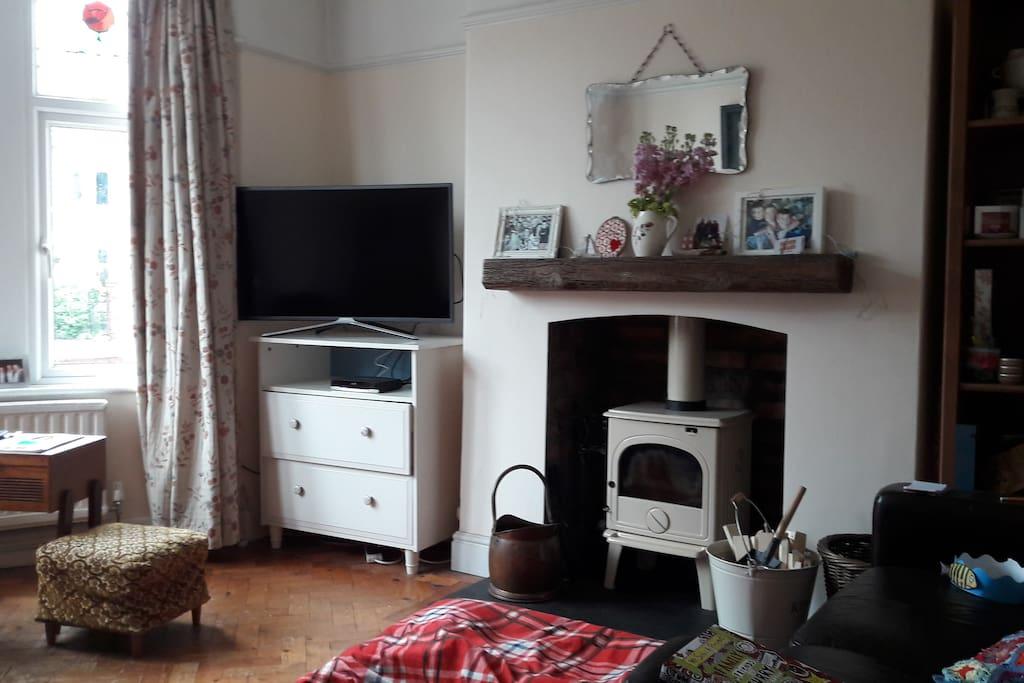 Sitting room with coal/wood burner