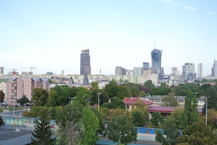 Apartament z widokiem na panoramę Warszawy