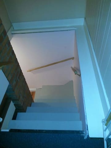 Stairway leading down to the full basement space.