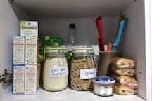 The cupboards are stocked with items for a simple breakfast