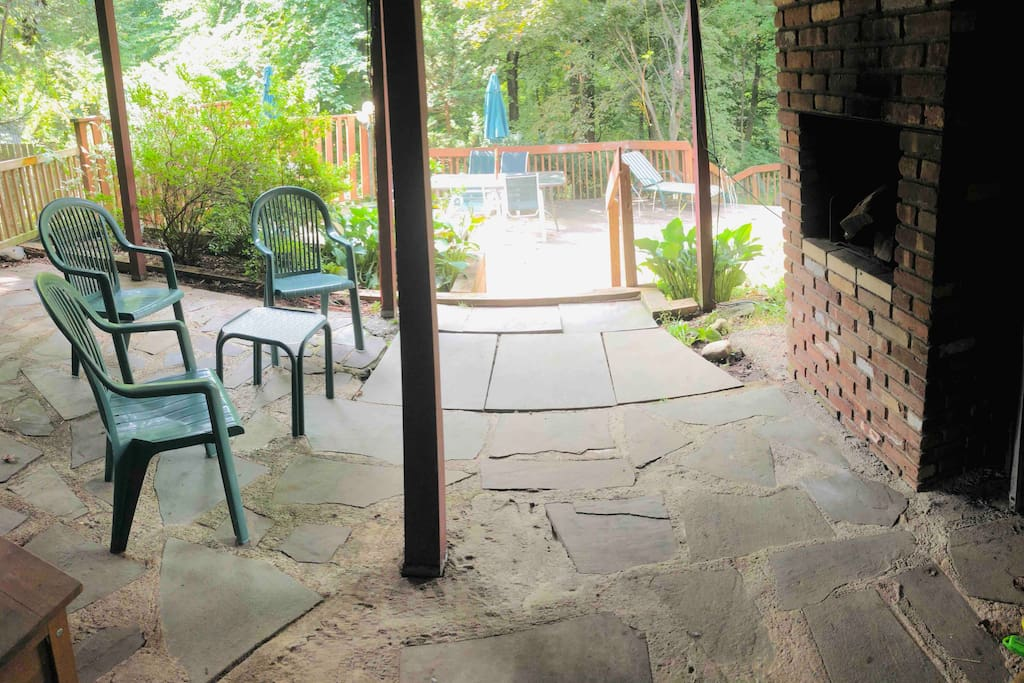 This is your private patio and outdoor fireplace