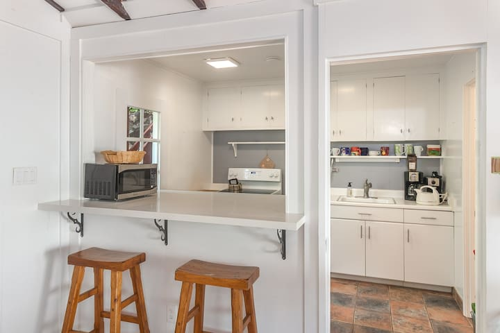 View of kitchen from living area.