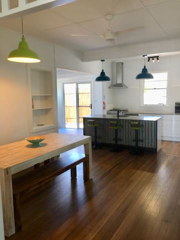 Kitchen and indoor entertaining area.