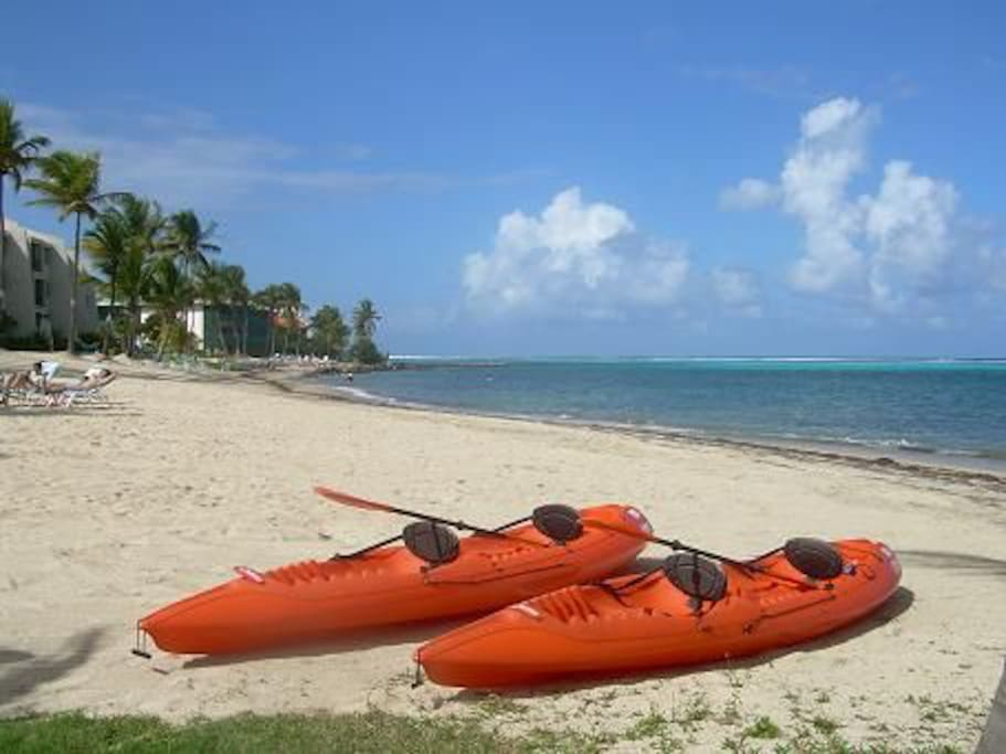 Enjoy our two tandem kayaks