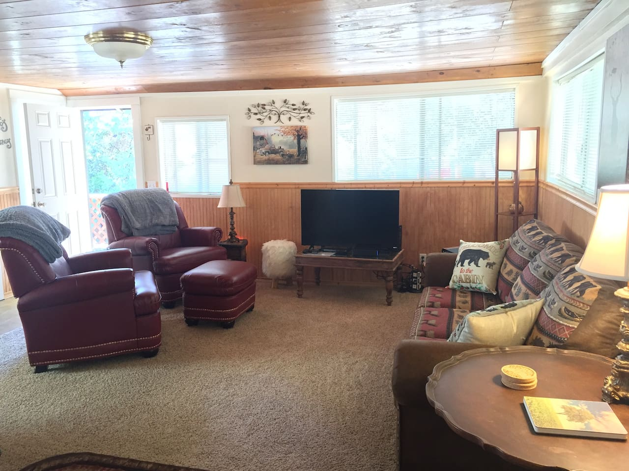 """Main Living Space - Couch pulls out into a Queen Sofa Sleeper.  There is also a Twin Air Mattress.  We supply the sheets/blankets/pillows.  40"""" Smart TV, Comcast, Blue Ray Player + FREE Wi-Fi"""