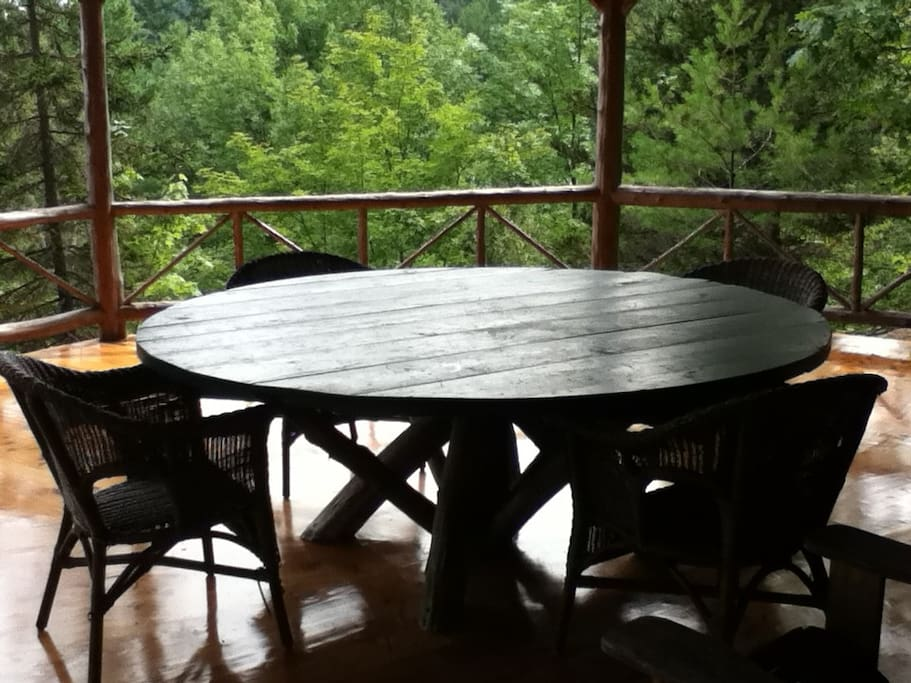 Table on large covered porch