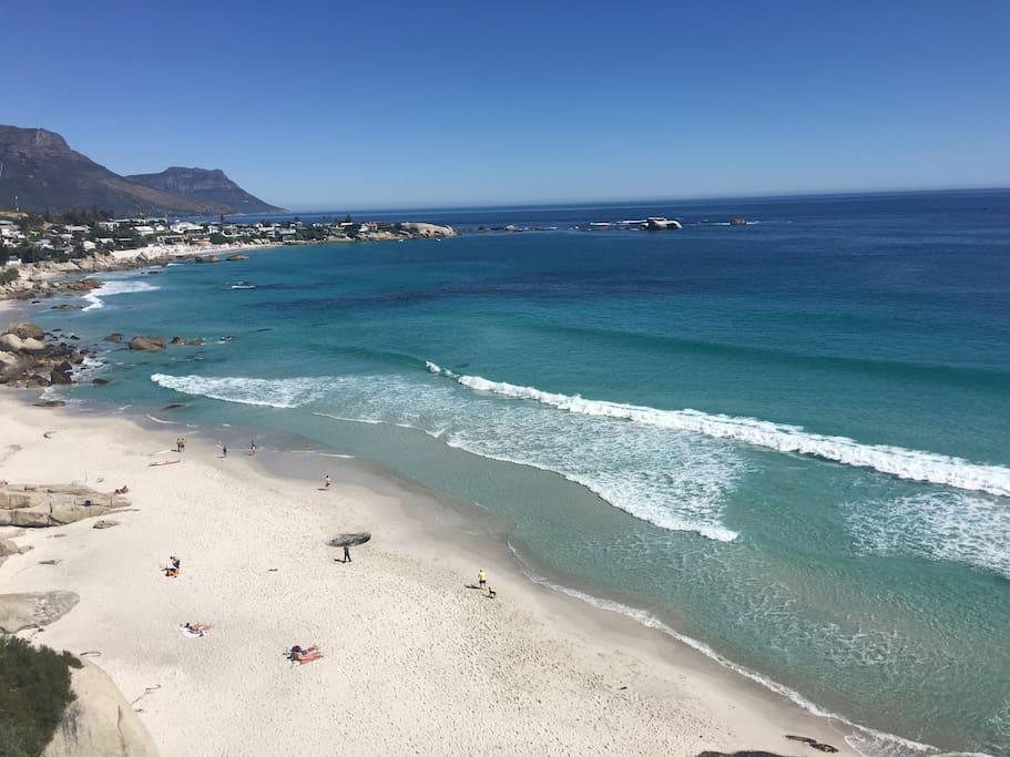 The amazing view down the 4 Clifton beaches from the apartment deck