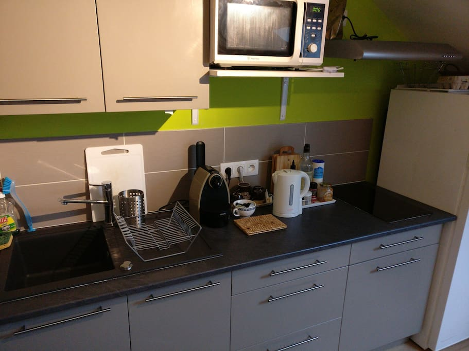 Cuisine équipée : nespresso, bouilloire, micro-ondes grill, plaques, ...