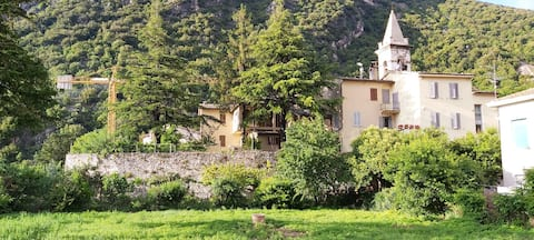 Dennen en kersenbomen in de buurt van Rasiglia