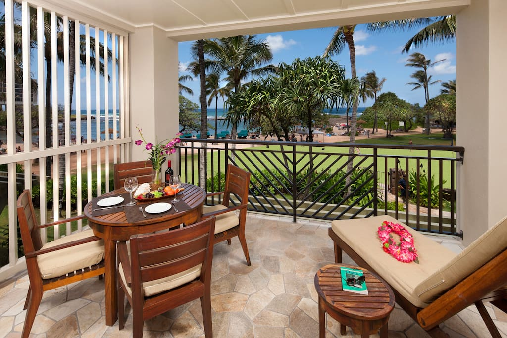 Ocean view lanai just yards from the beach!
