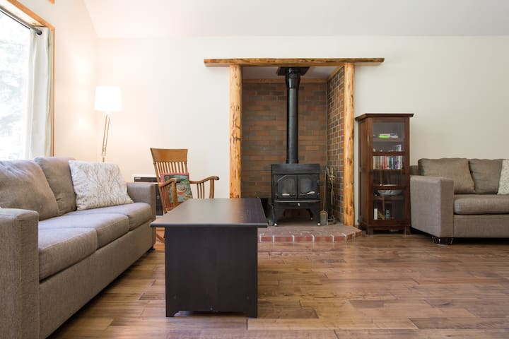A cozy place to relax by the woodstove