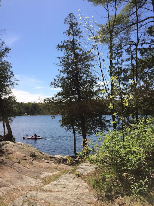 Glen Lake is a short walk from the camp.
