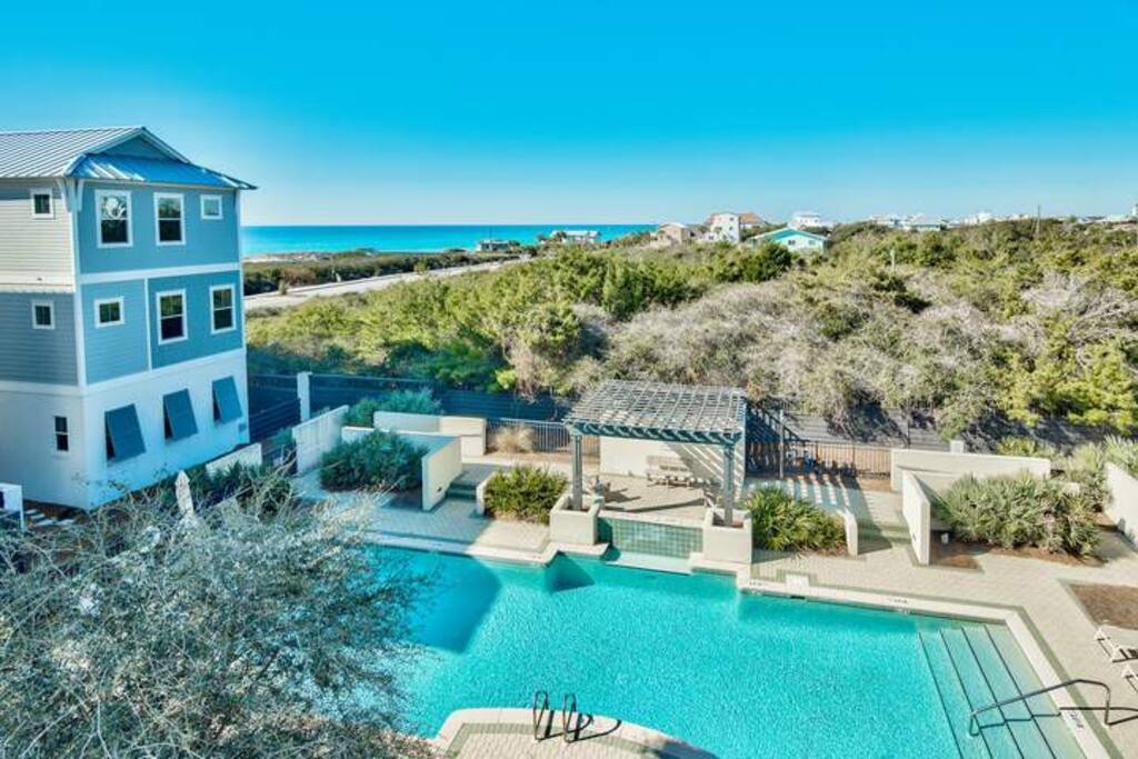 The home overlooks the community pool, but there's plenty more to see here.