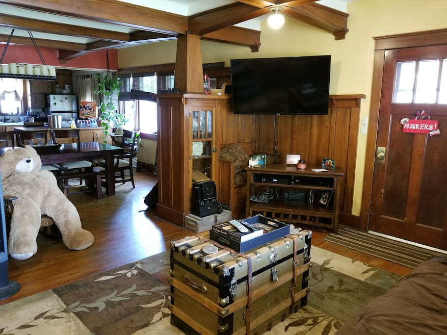 View from living room, a Craftsman style home, yet with an open floor concept.