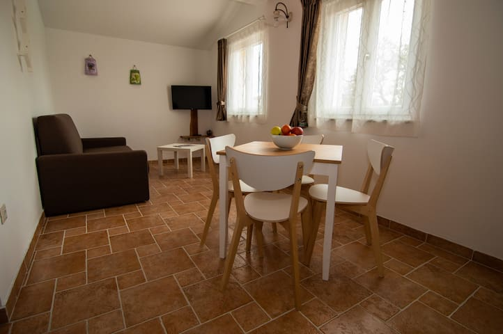 Sofa bed, kitchen table and TV sat in Residence Mama near Rovinj