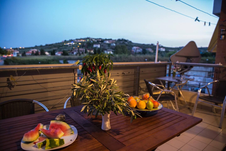 Blick vom Balkon am Abend