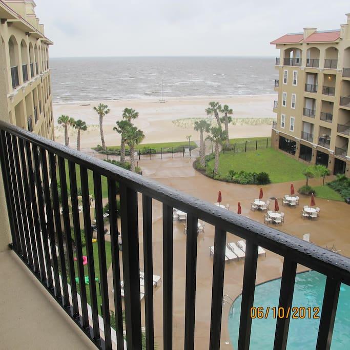 Balcony view on a rainy day.
