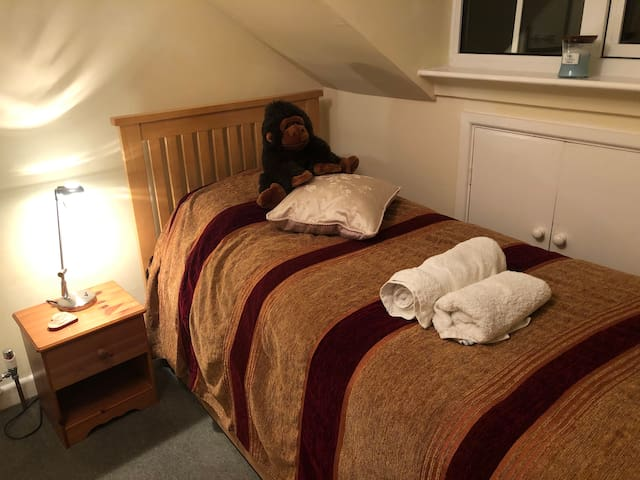This is a room which had a single bed in it which expands into a king size double.  There's not huge amounts of space when the double bed is up.