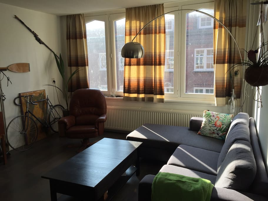 Spacious retro looking livingroom full of natural light and a LCD tv.