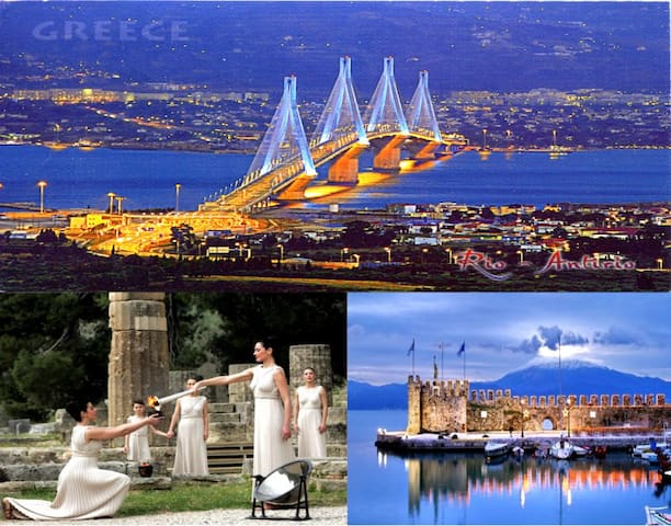 1) Rio-Antirrio Bridge. 2) Ancient Olympia; the birthplace of the Olympic Games. 3) Port of Nafpaktos.
