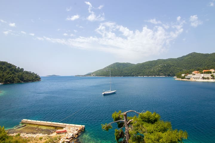 One bedroom Apartment, beachfront in Brna - island Korcula, Balcony