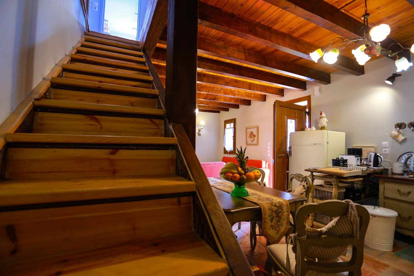 Stairs lead up to the upper level -first floor-