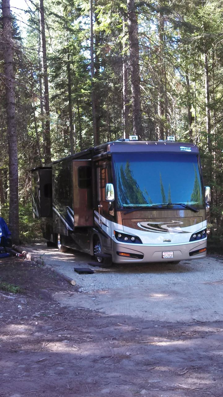 Park Your RV In the Forest by a Creek