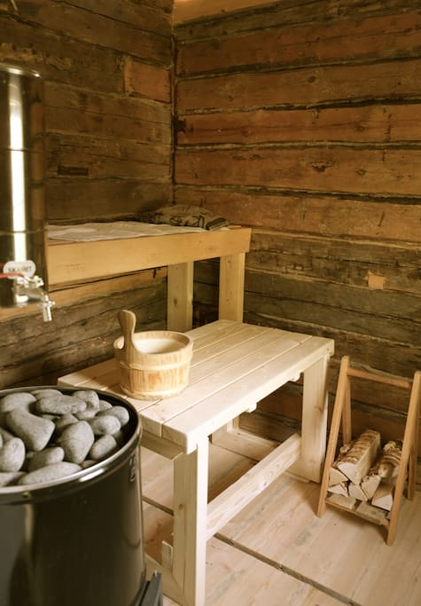 Sauna inside used only natural materials.